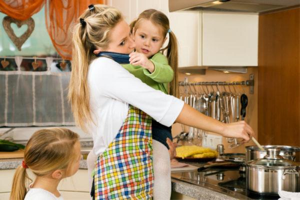 stressed mum cooking