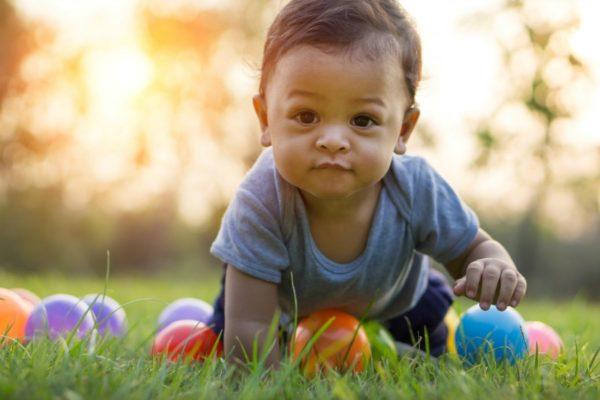 toddler boy crawling