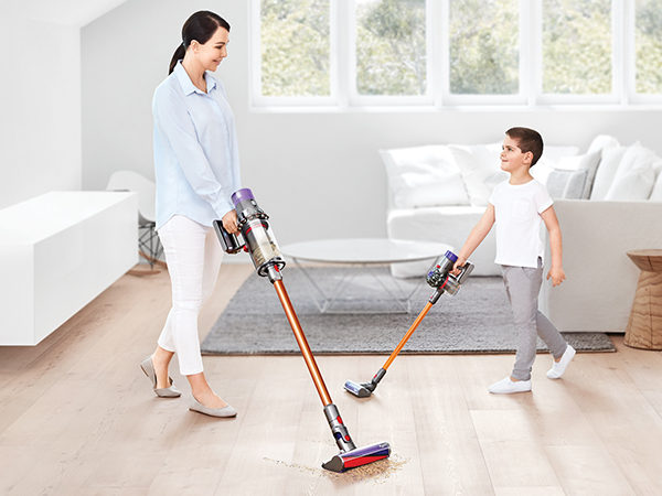 Dyson V10 vacuum with toy vacuum