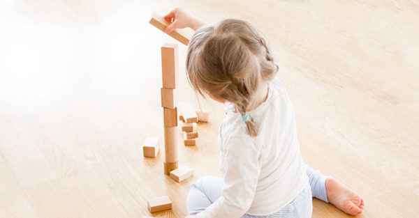 girl building blocks