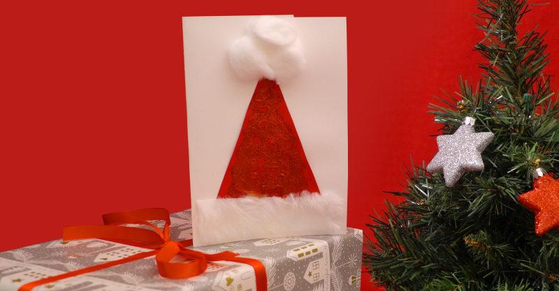 Christmas card to make - a glittery Santa hat card
