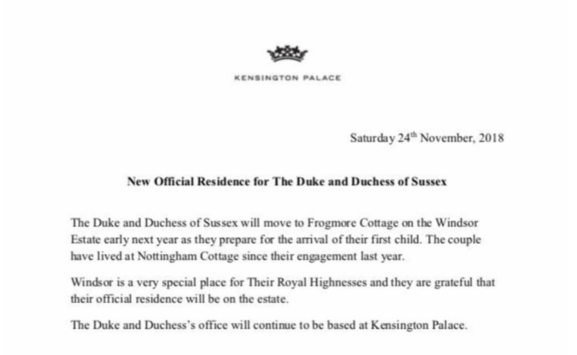 Frogmore cottage move statement from Palace