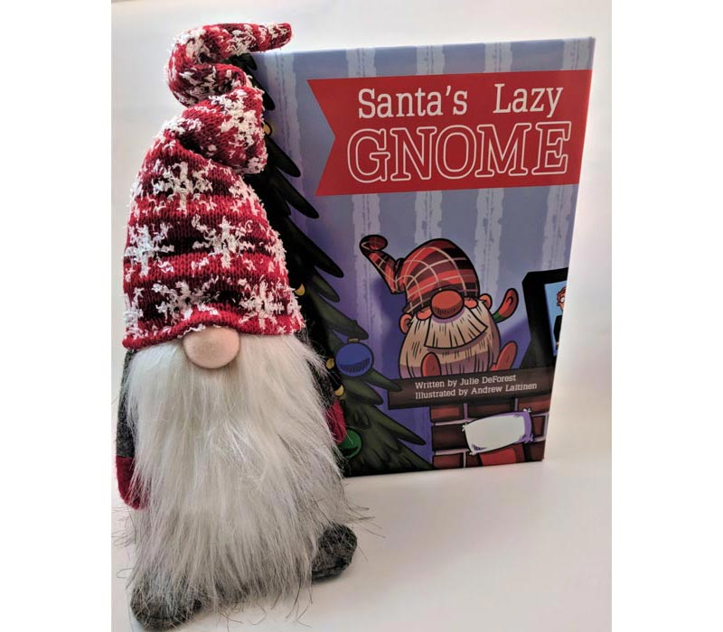 Lazy gnome with book