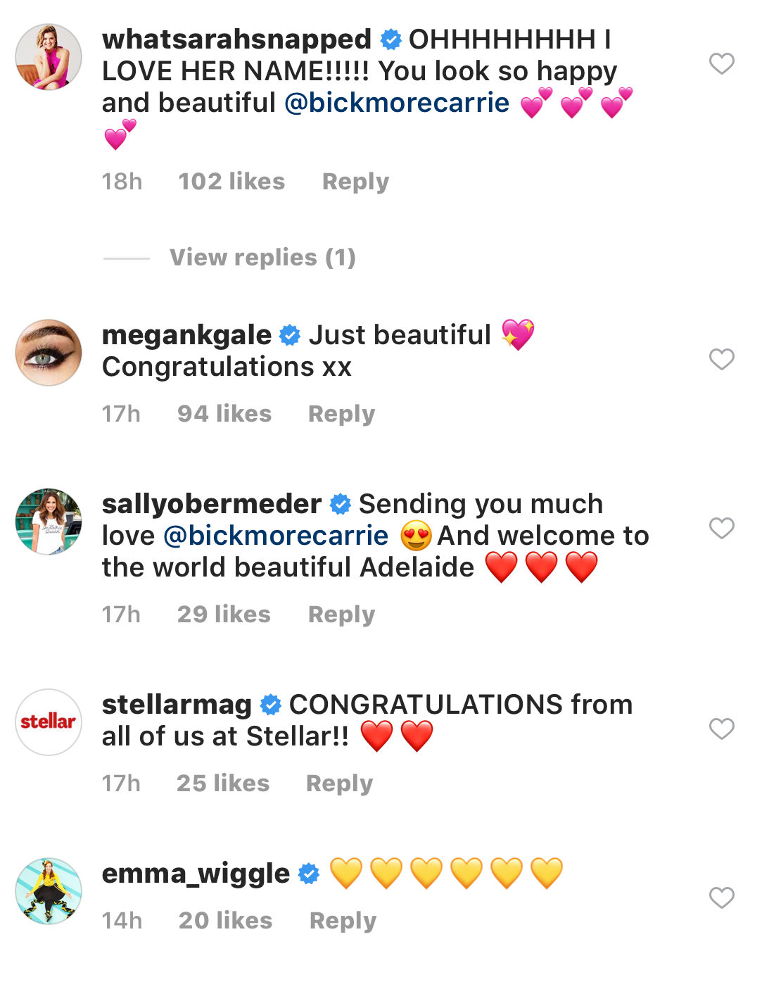 Carrie instagram comments