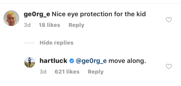 Carey Hart's Instagram comments