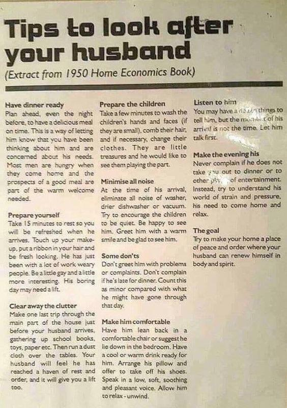1950s tips for looking after your husband