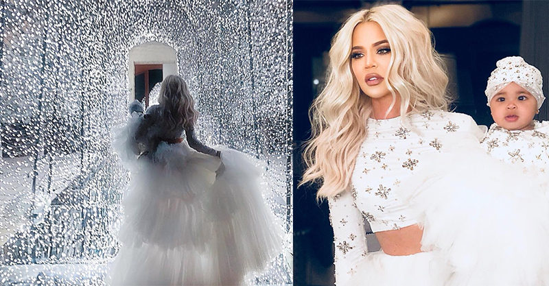 Khloé Kardashian and True at Christmas 2018