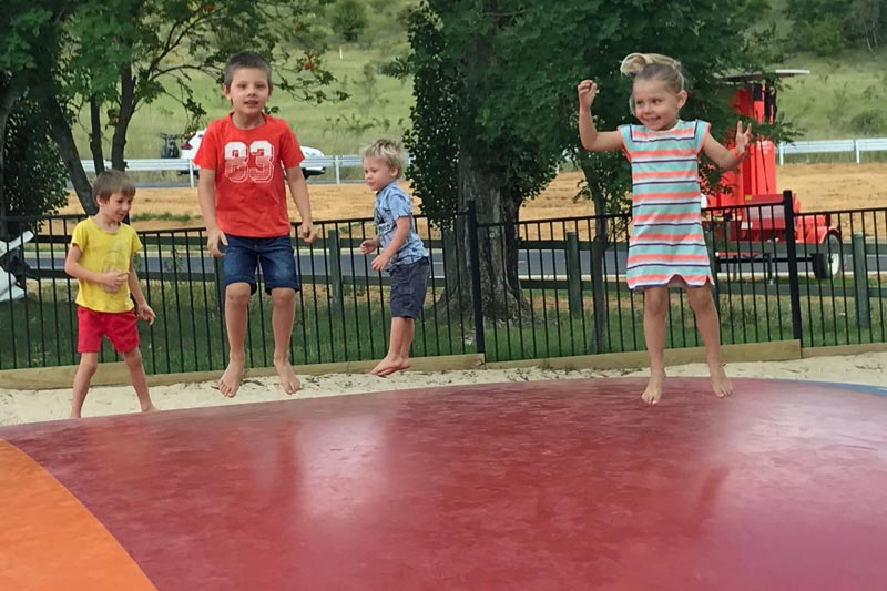 Caravan park trampoline