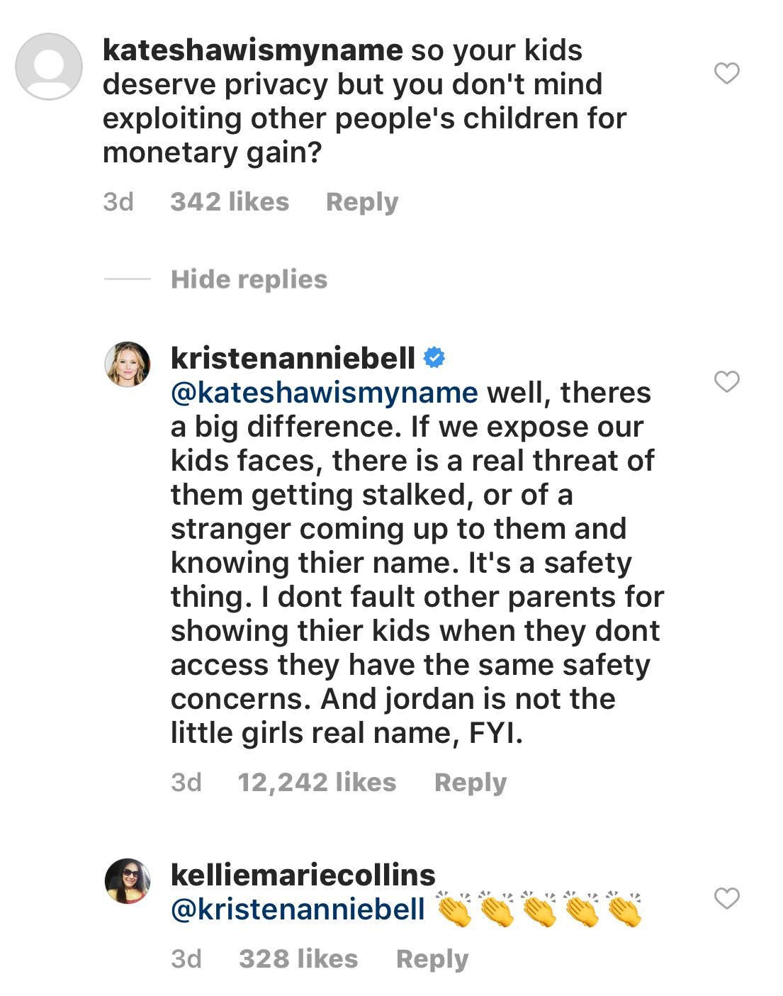 Kristen Bell comments